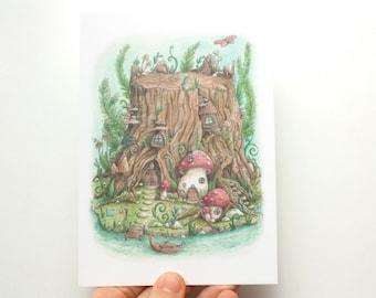 Postcard Secret Gnome World - eco paper