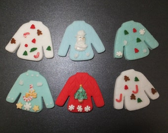 6 x Edible fondant ugly Christmas Sweater jumper cupcake toppers cake decorations (1)