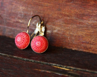 Red mosaic earrings, 10 mm, silver