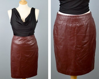 Red Vintage The Limited Pleather Pencil Skirt, Vegan Leather Skirt, High Waist Skirt, 90s Mini Skirt, Goth Clothing