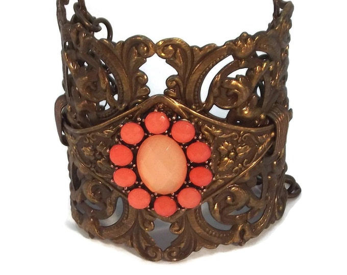 Adjustable Chocolate Brass Victorian Filigree Cuff Bracelet with Coral Rhinestone Bezel OOAK, One of a kind Orange Brown