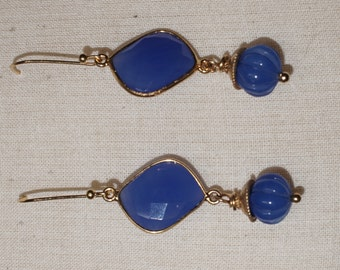 Blue Chalcedony and gold plate earrings