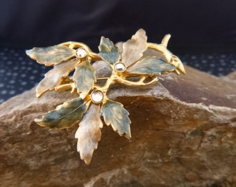 Changing Leaves Fall Beauty Vintage Gilded Enamel Brooch with Rhinestones