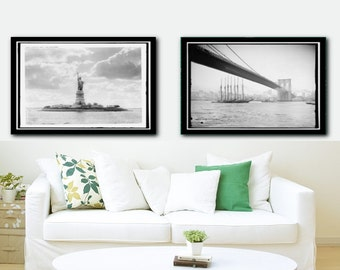 Vintage New York City Black And White Photos, Statue of Liberty, Brooklyn Bridge, New York City Skyline, New York City Vintage, FRAMED SET