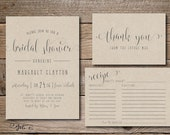 Printable Fun Bridal Shower Invitation and/or Recipe and Thank You Card