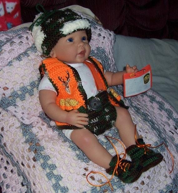 Crochet Baby Hunting Vest Pattern : Crochet Littlest Hunter Hunting Baby Set PATTERN Vest Diaper