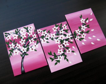 "pink painting, pink and purple, purple and pink, pink art, cherry blossom, small presents, YOU GET BOTH (see the second picture!) 15"" x 7"""