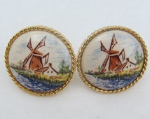 ON SALE !! Delft Anson windmill gold cufflinks in original box