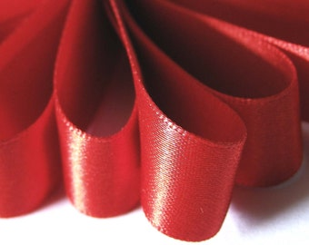 """70mm (3"""")    SCARLET RED   Double Satin Ribbon  = Per Metre or 2 Metres Ideal for Sashes or Belts"""