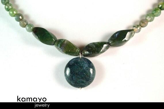 MOSS AGATE NECKLACE - Green Moss Agate Choker for Women