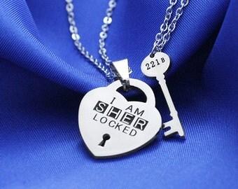 I'm Sherlocked + 221B Sherlock Key Necklace, Best Friend Necklace, Valentine Gift, Geek Jewelry, Sherlock Holmes, 221B Key Necklace, Geekery