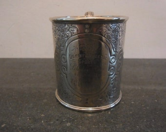 Antique Silver Plated Cup Engraved 1873 Derby Athletic Sports Scholars Race First Prize Won by R Irving Victorian Silver plated Sports Award