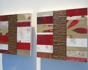 MODERN WOOD MOSAIC art textured abstract wall paintings - custom