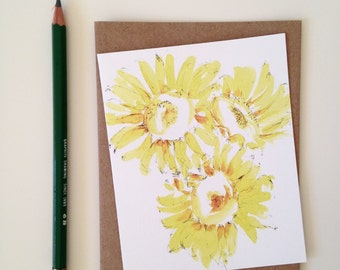 Greeting Card // Sunflower Card // Blank Card