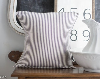 Farmhouse Navy Ticking Pillow -16 x 16 inch -pillow cover