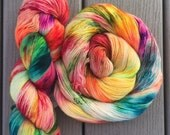 Peace, Love and Tie Dye on Single Lady, 400 yards of single ply fingering weight merino
