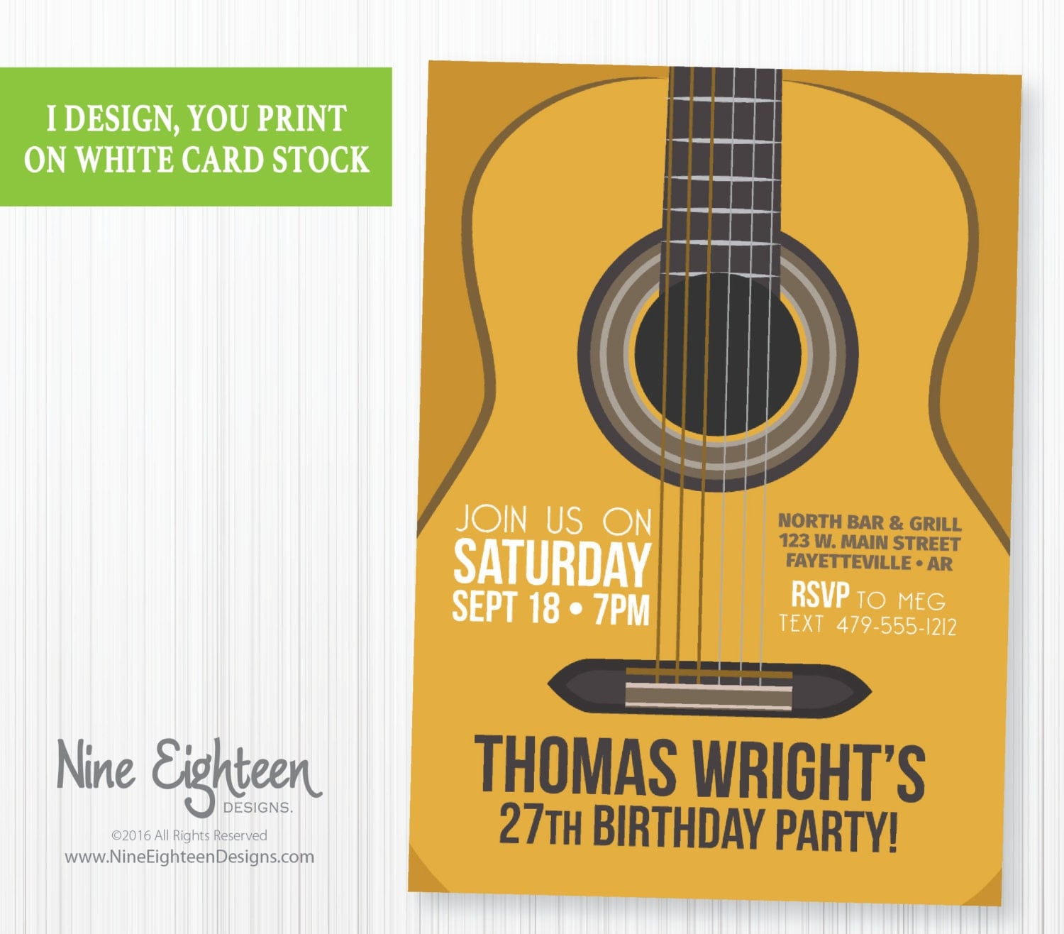 Birthday Party INVITATION With Acoustic Guitar. By