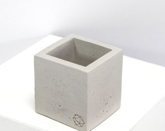 Mini Concrete Geometric Cube Plain
