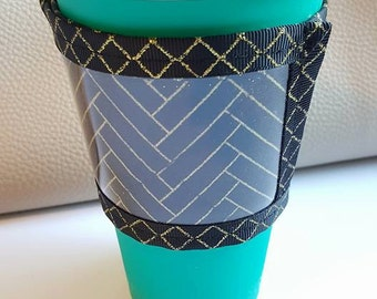 Custom Drink Cozy - Adjustable - Coffee Sleeve - Coffee Tea Coozie with Business Card Holder, Business Gift