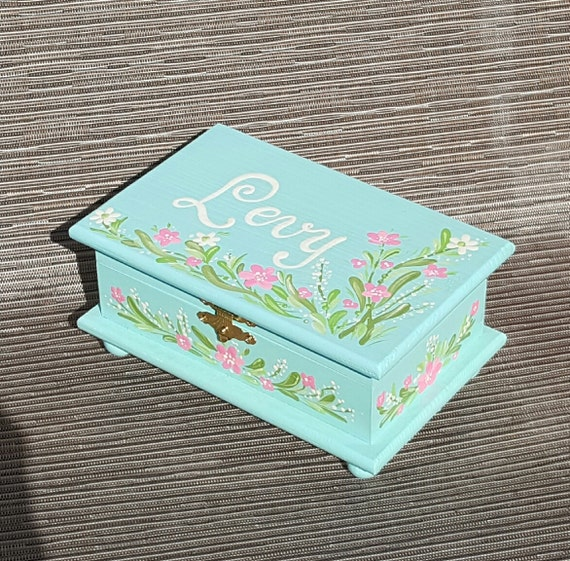 Childs Wood Painted Jewelry Box From
