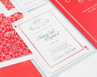 SAMPLE - Las Vegas inspired wedding stationery. Playing card style invitation. RSVP postcard. Personalised colour scheme.