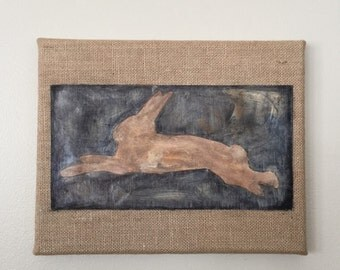 Rabbit Le Lapin on Burlap Canvas. Original Hand Painted, Paper, Burlap Mixed Media Collage. Vintage/Rustic/French Cottage. Bunny Nursery