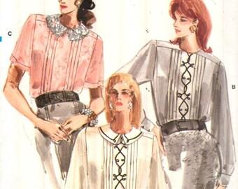 Vogue 7100, Sz 8, Vintage 80s EASY Vogue Pleated Blouse/Shirt pattern, UNCUT