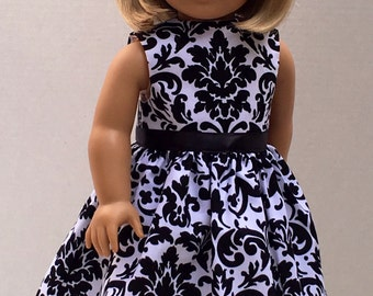 "Doll Clothes American Made 18"" Doll Dress fits 18"" Girl Doll -  Black and White Damask"