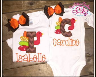 Thanksgiving Turkey Alphabet Shirt--Add a Name Underneath for No Extra Charge!