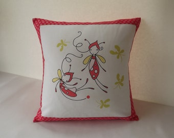 Whimiscal Bug Pillow Cover, Bug Pillow Cover, Crib Accent Pillow, Accent Pillow, Throw Pillow, 12 x 12 Pillow Cover