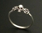 Tiny Skull with Roses Sterling Silver Ring