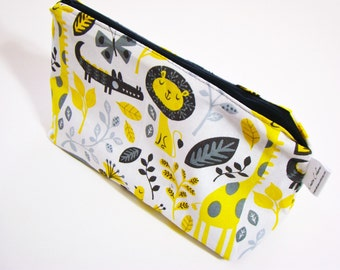 Knitting Project Bag, Small Zipper Pouch, Accessories Case, Crochet Project Bag, Small Travel Pouch, Yellow Grey Bag, Jungle Print Pouch