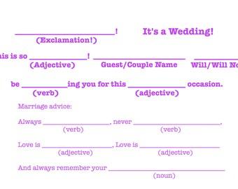 """Mad-Lib R.S.V.P """"It's a wedding!"""" Template - Bright Purple"""
