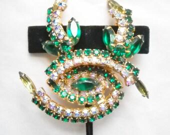 Vintage Set Juliana Jewelry Rhinestone Brooch Cluster Earrings Emerald Green A B Juliana D E  Hollywood Regency Mid Century