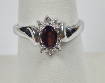 Natural Garnet with Natural Diamond Ring 925 Sterling Silver