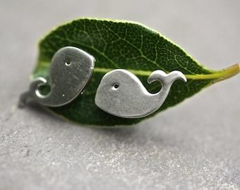 Whale studs earrings. silver studs, small earrings, animal studs, brighton, palomita jewellery, 07