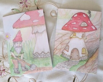 Fairy Doodle Blank Cards ~ Pack of 4, 2 of each design ~ Toadstool House and Gnome Home Grower