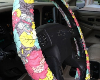 Steering Wheel Cover Gray with Colorful Floral Pink Yellow Aqua Blue Flowers Cute Car Accessory Great Gift Idea