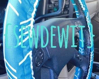 Steering Wheel Cover Aqua Blue With White Arrows - Cute Car Accessories Gift Idea