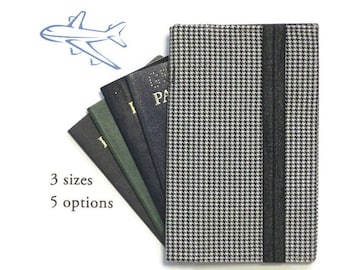 Passport Wallet Black Houndstooth Family Passport Cover, Travel Organizer, Cell Phone Case, Women's Passport Holder, Men's Passport Case
