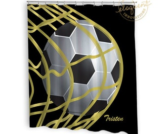 Soccer Shower Curtains   Sports Black U0026 Gold   Soccer Shower Curtain   Boys  Or Girls