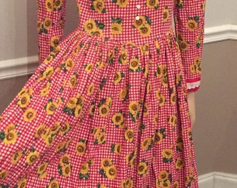one of a kind  70's Sunflower and Gingham maxi peasant style dress / country girl / small