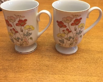 Vintage Painted Poppy Fanci Florals Collection Made in Japan (2)