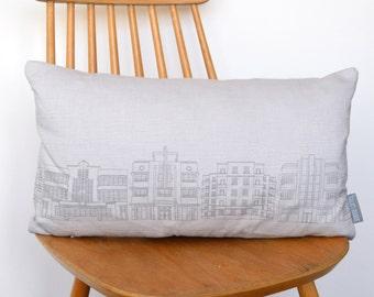 Grey Linen Deco Building Cushion