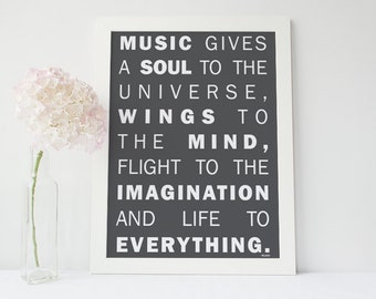 "A3 Poster - Inspirational Quotes - Plato - ""Music gives a Soul to the Universe...""  - Glossy Print"