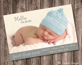 Blue & Gray Custom Photo Card Baby Birth Announcement, Hello Baby Birth Announcement, Printable, Digital