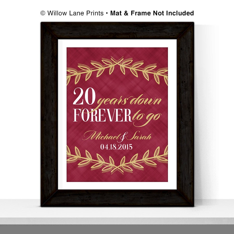 20 Year Wedding Anniversary Gift Ideas: 20th Anniversary Gift For Husband Or For Wife 20th Wedding