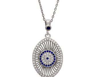 925 Sterling Silver Evil Eye Necklace,Amulet Necklace,Sterling Silver Necklace