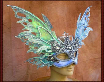 Adult Fairy Wings**Iridescent Blue Frost/Silver Wings & Mask**FREE SHIPPING**Costume/Masquerade/Cosplay/Weddings
