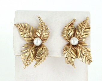 Cultured Pearl Leaf Clip Earrings Vintage 14k Yellow Gold Estate Pre Owned